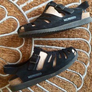 MEPHISTO Shoe Sandal EU39 Black Suede Leather